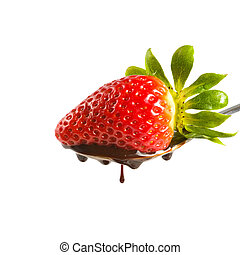 strawberry in chocolate isolated on white background