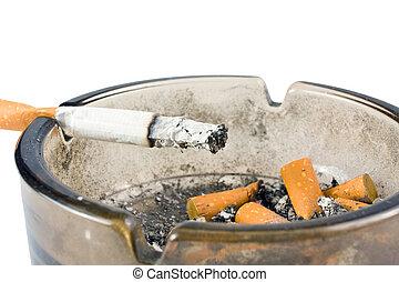 askkopp, cigarett, vit, bakgrund