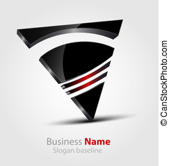 Abstract glossy 3D logo - Originally designed abstract...