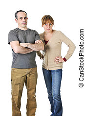 Stern parents looking angry - Angry parents stare with...
