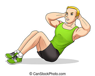 Fitness Sit Up - Cartoon illustration of a man doing sit up
