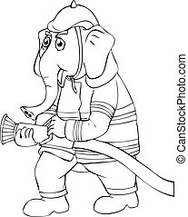 Elephant Firefighter - Outline illustration of an elephant...