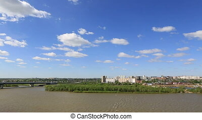 Panorama city of Omsk on the Irtysh