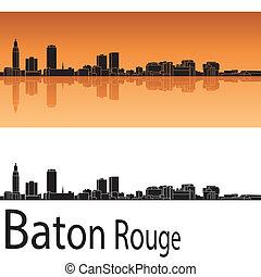 Baton Rouge skyline in orange background in editable vector...