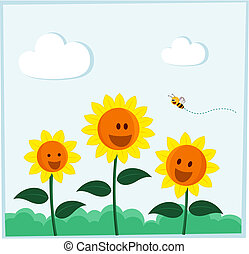 smiling sunflower - bee and sunflower smiling happily in a...