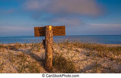 wooden signpost standing in the dunes