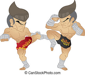 Muay Thai fighter - Muay thai Fighter :Roundhouse kick VS A...