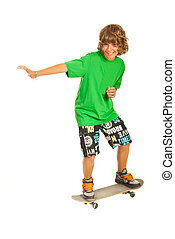 Smiling skateboarder