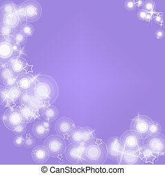 White flares and stars on a pale purple background