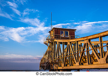 historical turning bridge - rusty historical turning bridge...