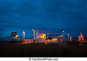 lift bridge - modern lift bridge at night