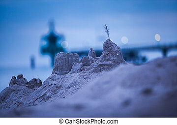 sandcastle at a beach at the Baltic Sea