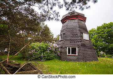 derelict windmill without vanes