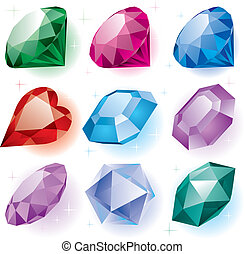 Set of diamonds - vector set of diamonds of various shapes...