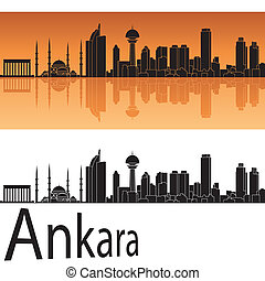 Ankara skyline in orange background in editable vector file