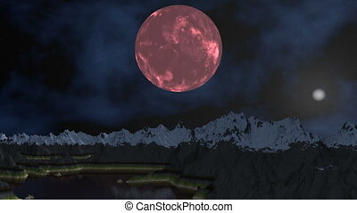Pink moon and UFO - In the dark night sky billion stars and...