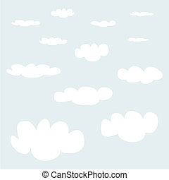 Vector set white clouds on blue sky