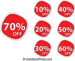 Discount price tags square sticker - Vector Illustration of...