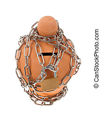 Moneybox with chain and padlock