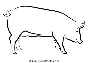 Sow silhouette isolated on white