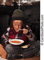 pobre, mendigo, criança, comer, caridade, alimento