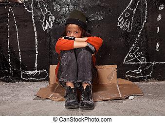 huérfano, niño, calle, concepto