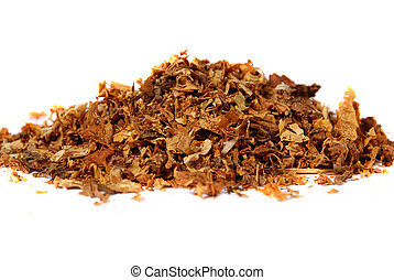 raw tobacco against white