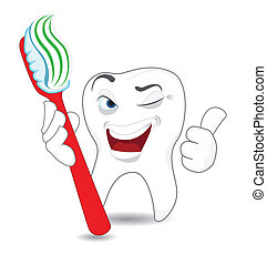 Smiling Tooth - Smiling cartoon tooth with toothbrush