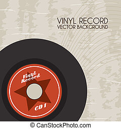 vinyl record over vintage background vector illustration