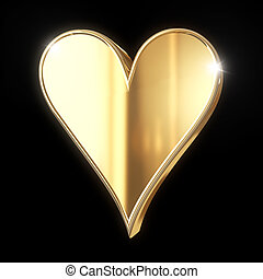 Golden  sign isolated on black with clipping path