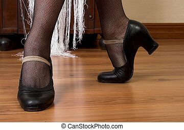Spanish Dancer Shoes - Feet and shoes of a spanish dancer on...