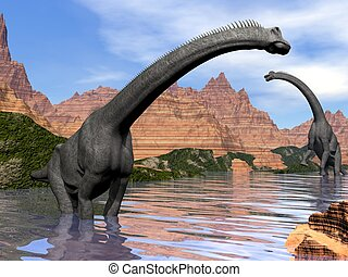 Brachiosaurus dinosaurs in water - 3D render - Two...