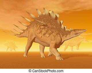 Kentrosaurus dinosaur - 3D render - Three kentrosaurus...