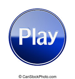 Play icon glossy blue, isolated on white background