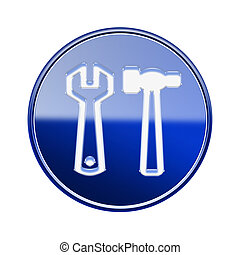 Tools icon glossy blue, isolated on white background