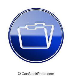 Folder icon glossy blue, isolated on white background