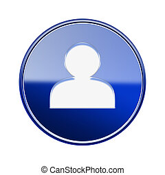 User icon glossy blue, isolated on white background