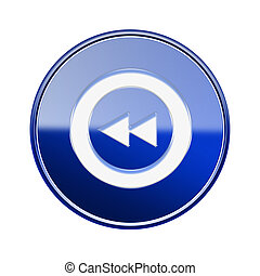 Rewind icon glossy blue, isolated on white
