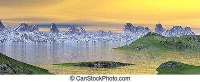Sunset landscape - 3D render