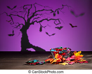 Halloween tree bats and sweets - Halloween tree bats sweets...