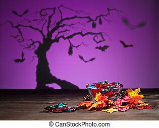 Halloween tree bats and sweets - Halloween tree bats sweets...