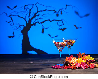 Halloween landscape with sweets - Halloween landscape a tree...