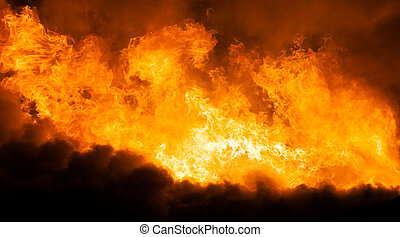 płonący, ogień, płomień, Drewniany, dom, dach
