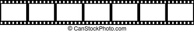 film strip - strip of movie film isolated on white