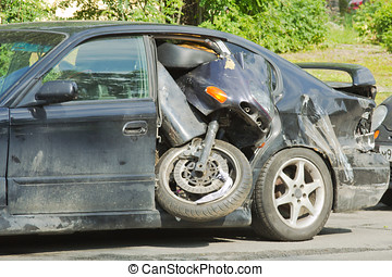car and motorcycle - bike somehow got on the way to the rear...
