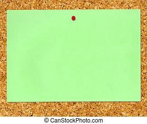 Green paper cork noticeboard.