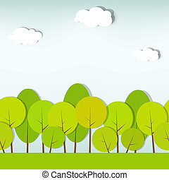 trees and shrubs. seamless vector pattern - green trees and...