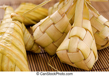 Ketupat Malay food - Ketupat or packed rice dumpling...