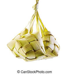 Ketupat or packed rice dumpling. Traditional Malay ramadan...