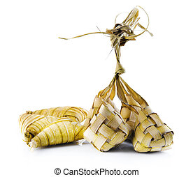 Ketupat or packed rice dumpling. Delicious traditional Malay...